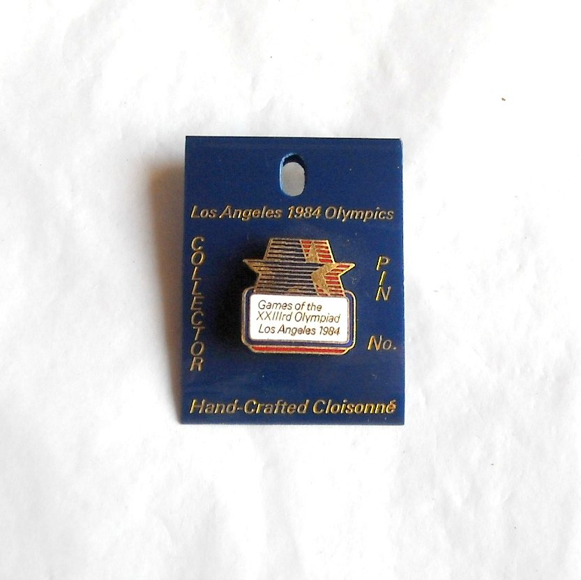 Los Angeles Olympics XXIII 1984 games USA white tie tac hat lapel pin