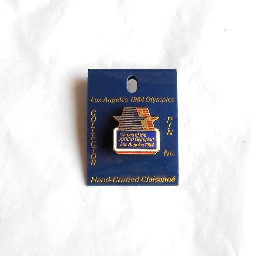 Los Angeles Olympics XXIII 1984 games USA blue tie tac hat lapel pin