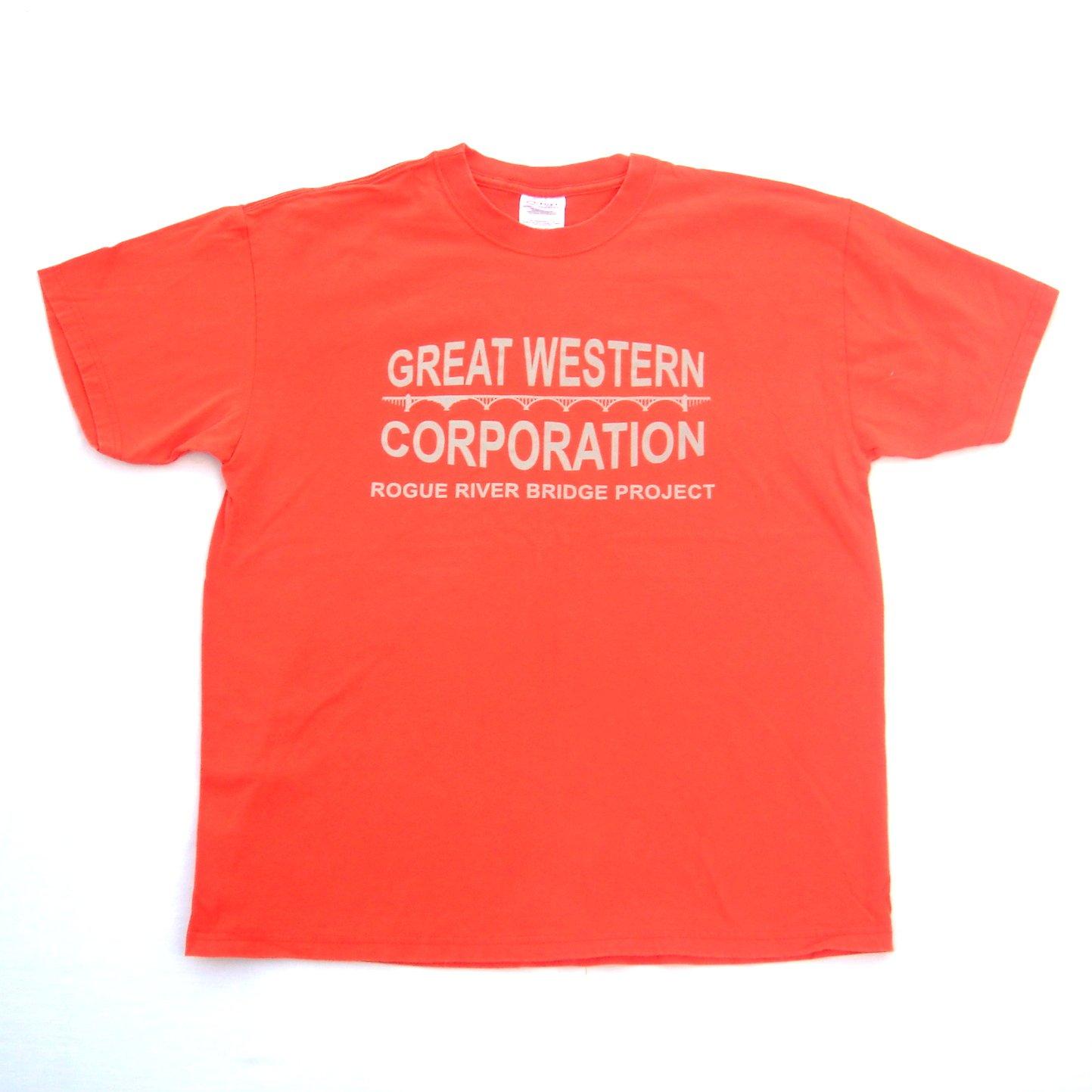 Great Western Rogue River Bridge Project T Shirt Top Size L