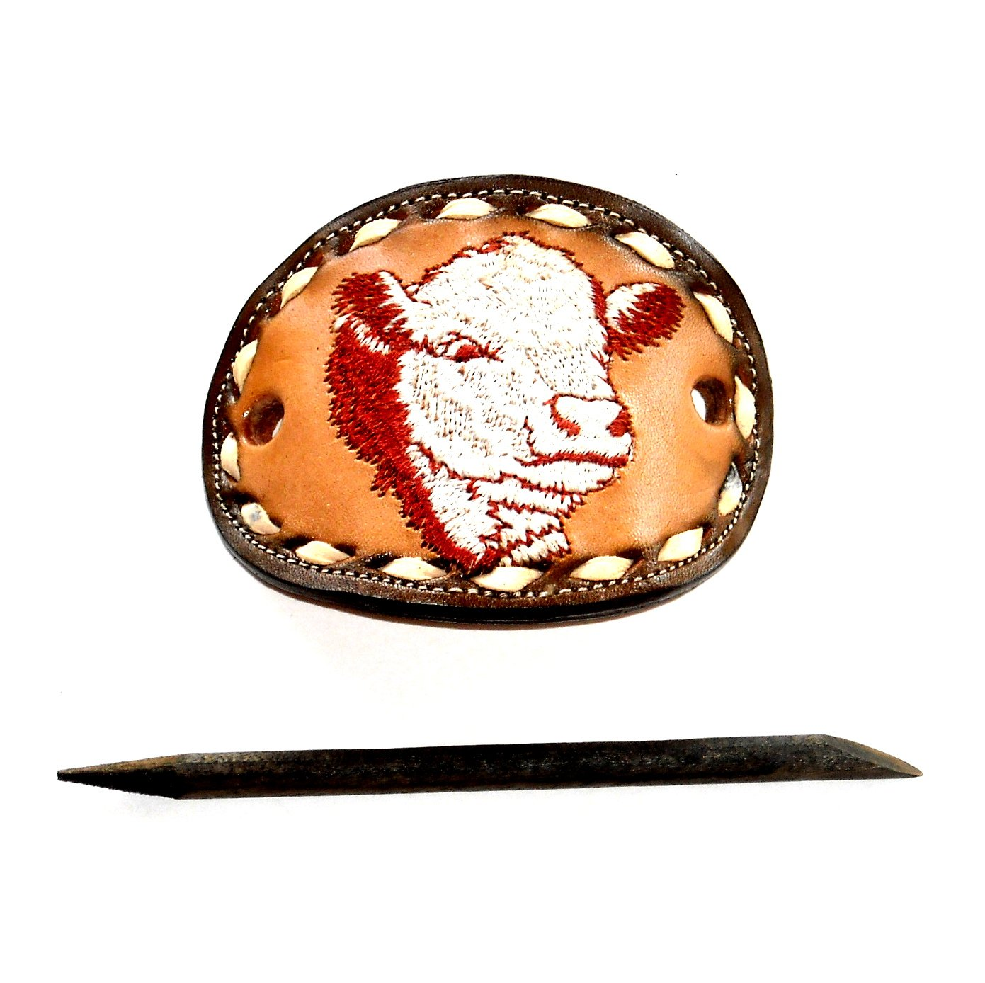 Miss Tony Lama Brown Leather Hair Barrette with Stick