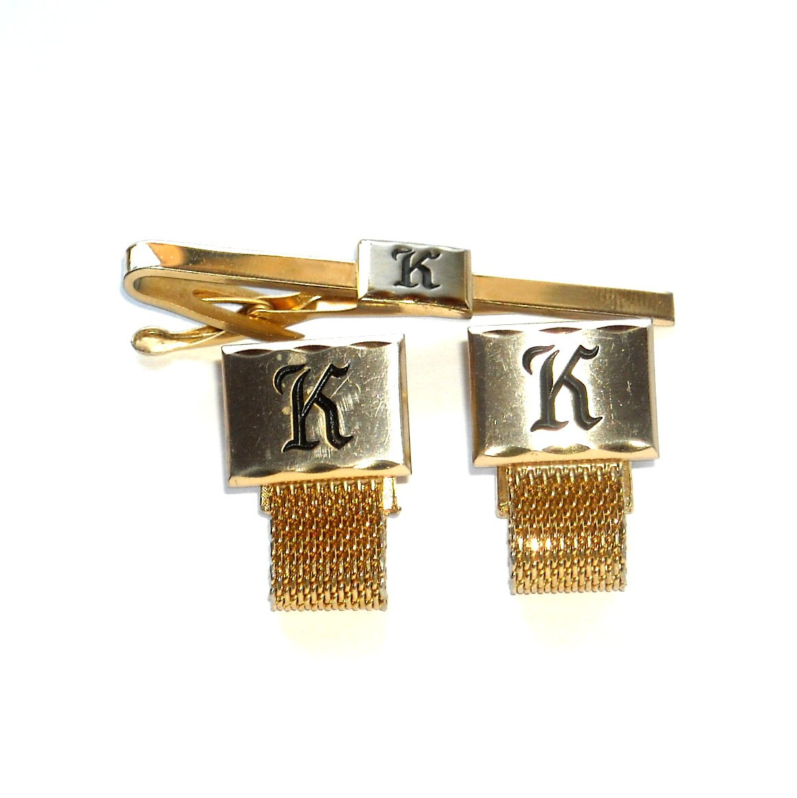 Initial Letter K Chain Mesh Gold Silver Color Hickok Cufflinks Tie Clip