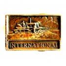 International Dozer Crawler Vintage Solid Brass Belt Buckle