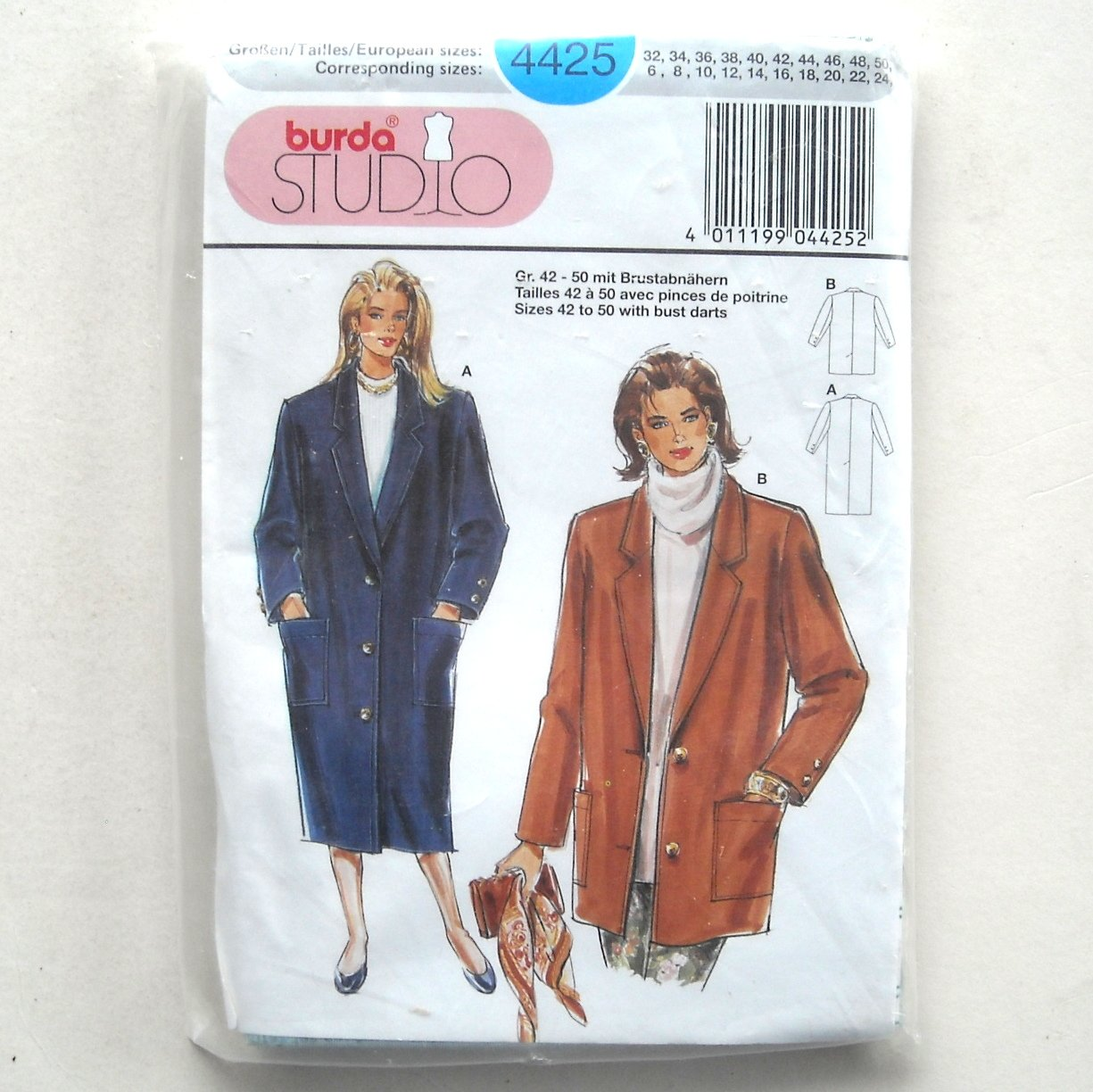 Misses Coat Jacket Burda Studio Sewing Pattern 4425