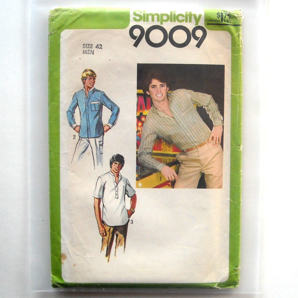 Teen Boys Mens Shirt Vintage Simplicity Sewing Pattern 9009