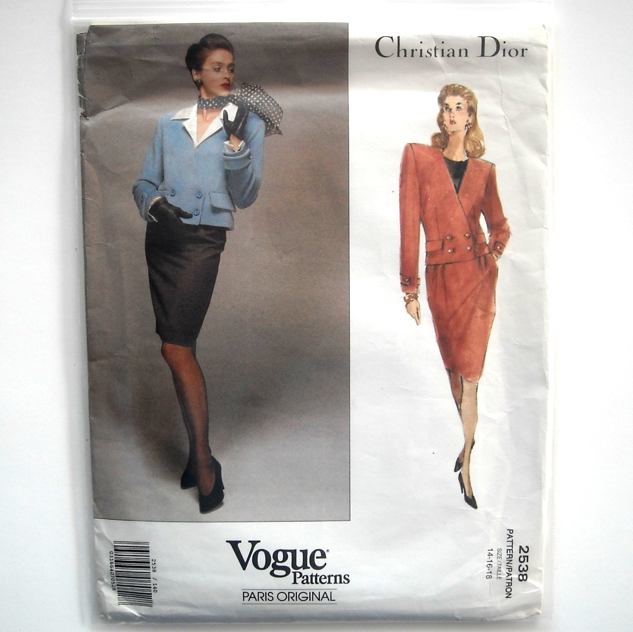 Christian Dior Misses Jacket Skirt Vogue Sewing Pattern 2538