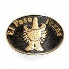 El Paso Texas Solid Brass Vintage Belt Buckle