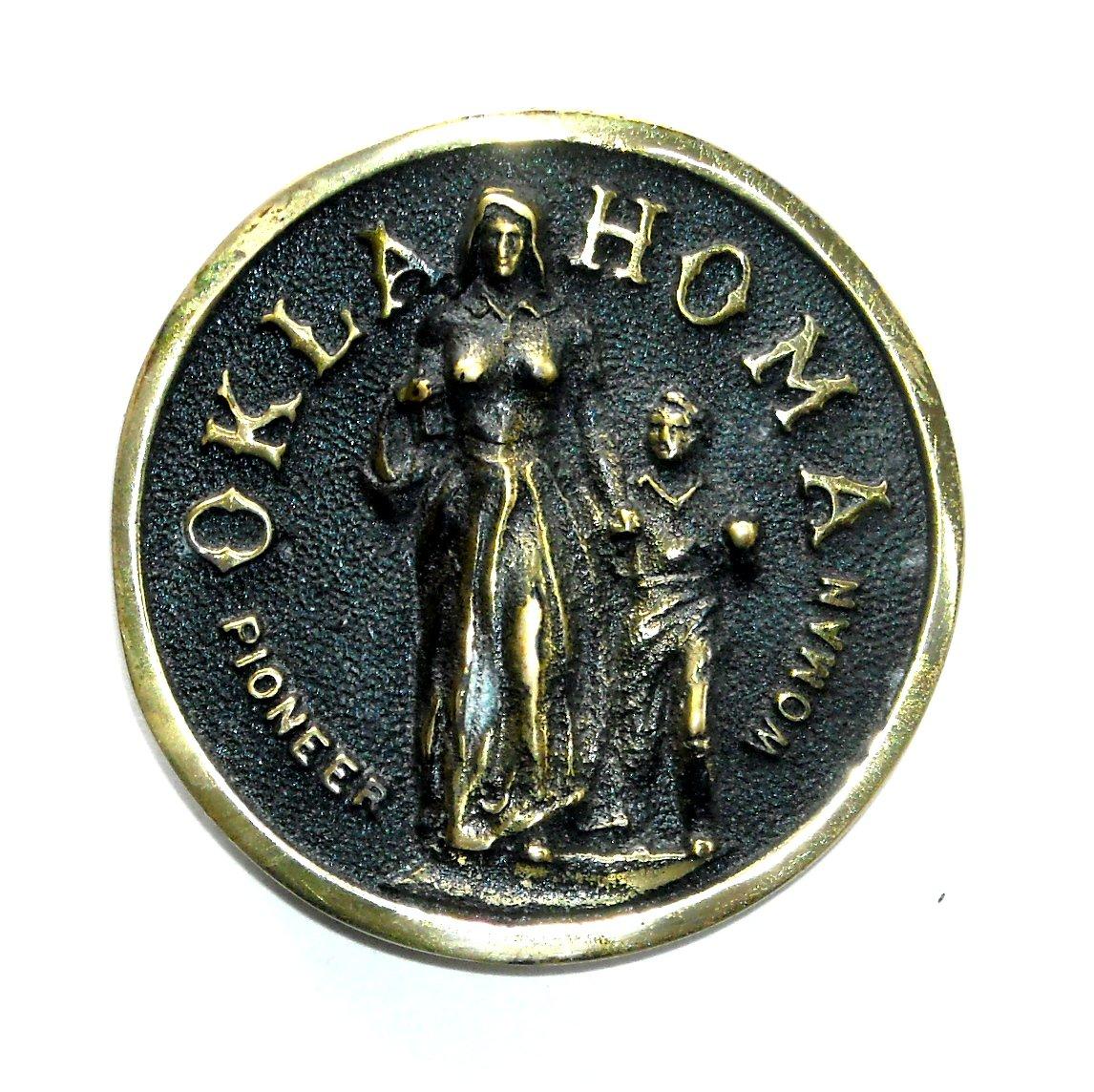 Oklahoma Pioneer Woman Heritage Mint Solid Brass Vintage Belt Buckle