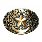 State Of Texas Brass Color Belt Buckle
