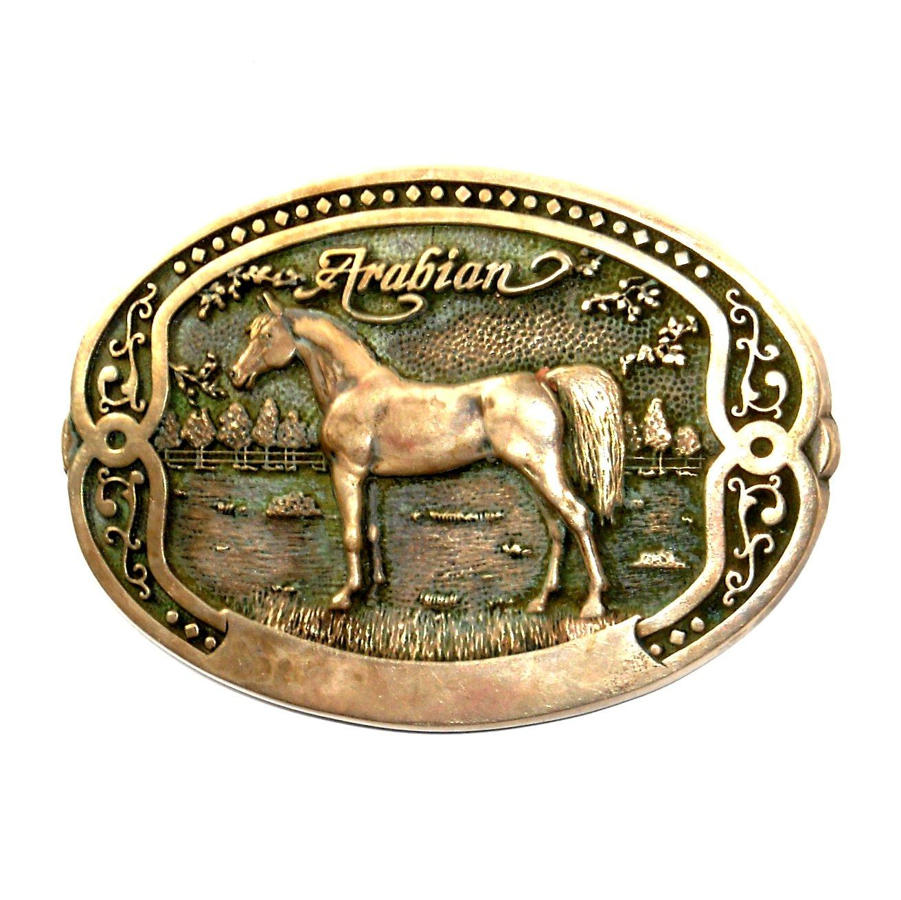 Arabian Tony Lama Horse Breeder Brass Belt Buckle