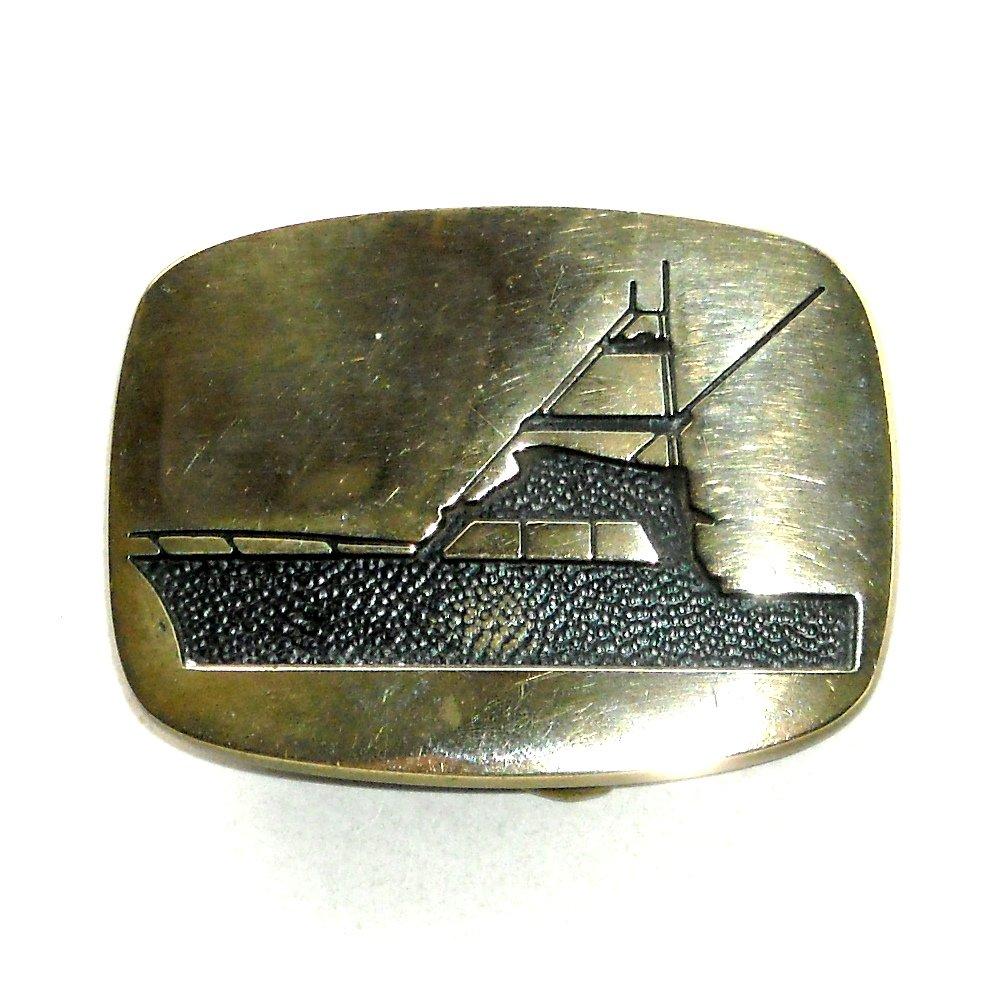 Sport Fishing Boat BTS Solid Brass Vintage Belt Buckle