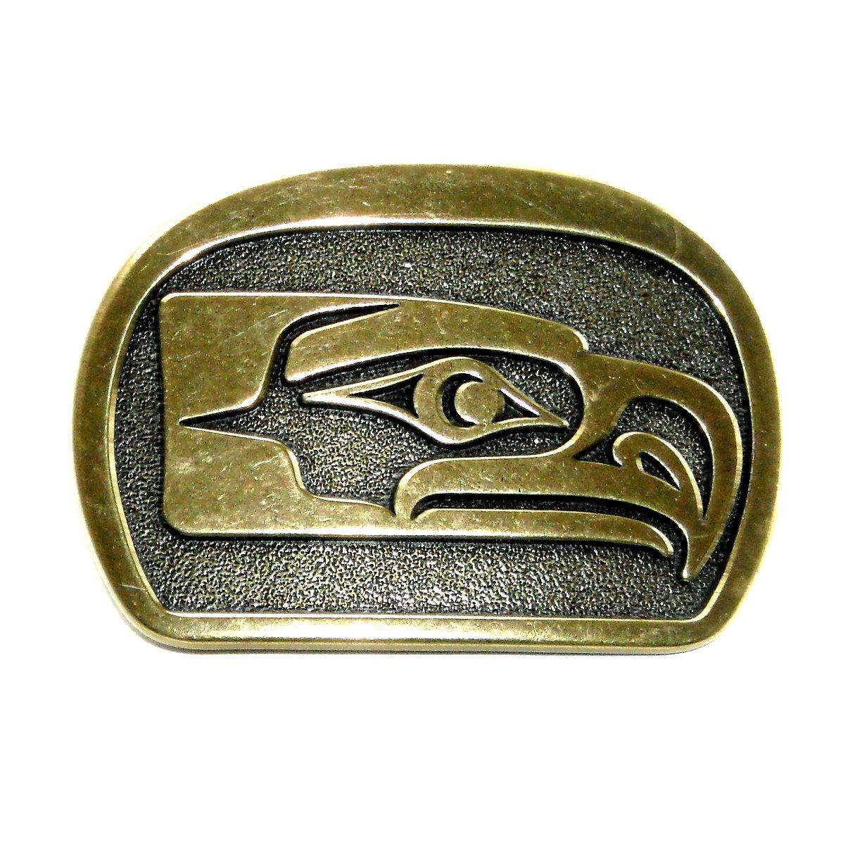 Seahawks Kwakiutl Bird Solid Brass Belt Buckle