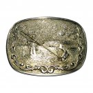 Trout Fly Fishing Vintage O C Tanner Solid Brass Belt Buckle