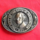 Tony Lama First Edition Great Seal State Of Washington Brass Belt Buckle