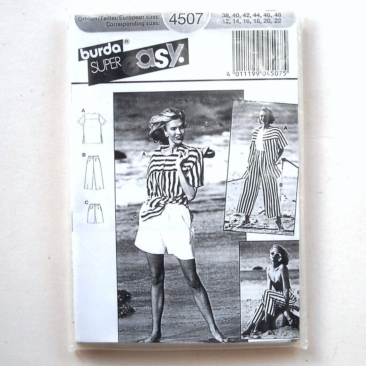 Misses Pants Tops Vintage Burda Super Easy Sewing Pattern 4507