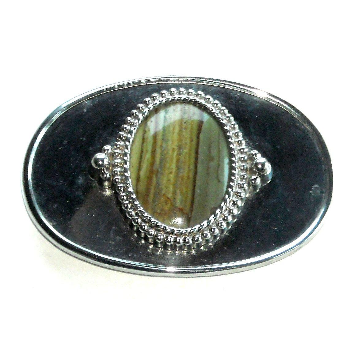 Vintage Tiger Eye Cabochon Oval Stone Silver Color Belt Buckle