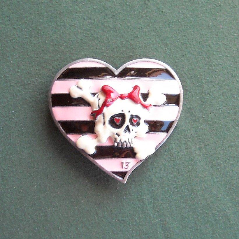 Lucky 13 3D Heart Shaped With Skull Cross Bone Belt Buckle