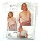 Vintage Misses Blouse Calvin Klein Vogue Sewing Pattern 1878