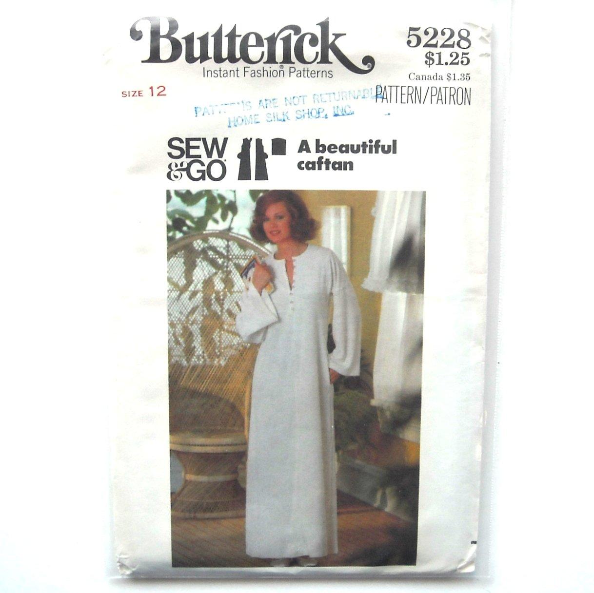 Misses Caftan Dress Vintage Butterick Sewing Pattern 5228
