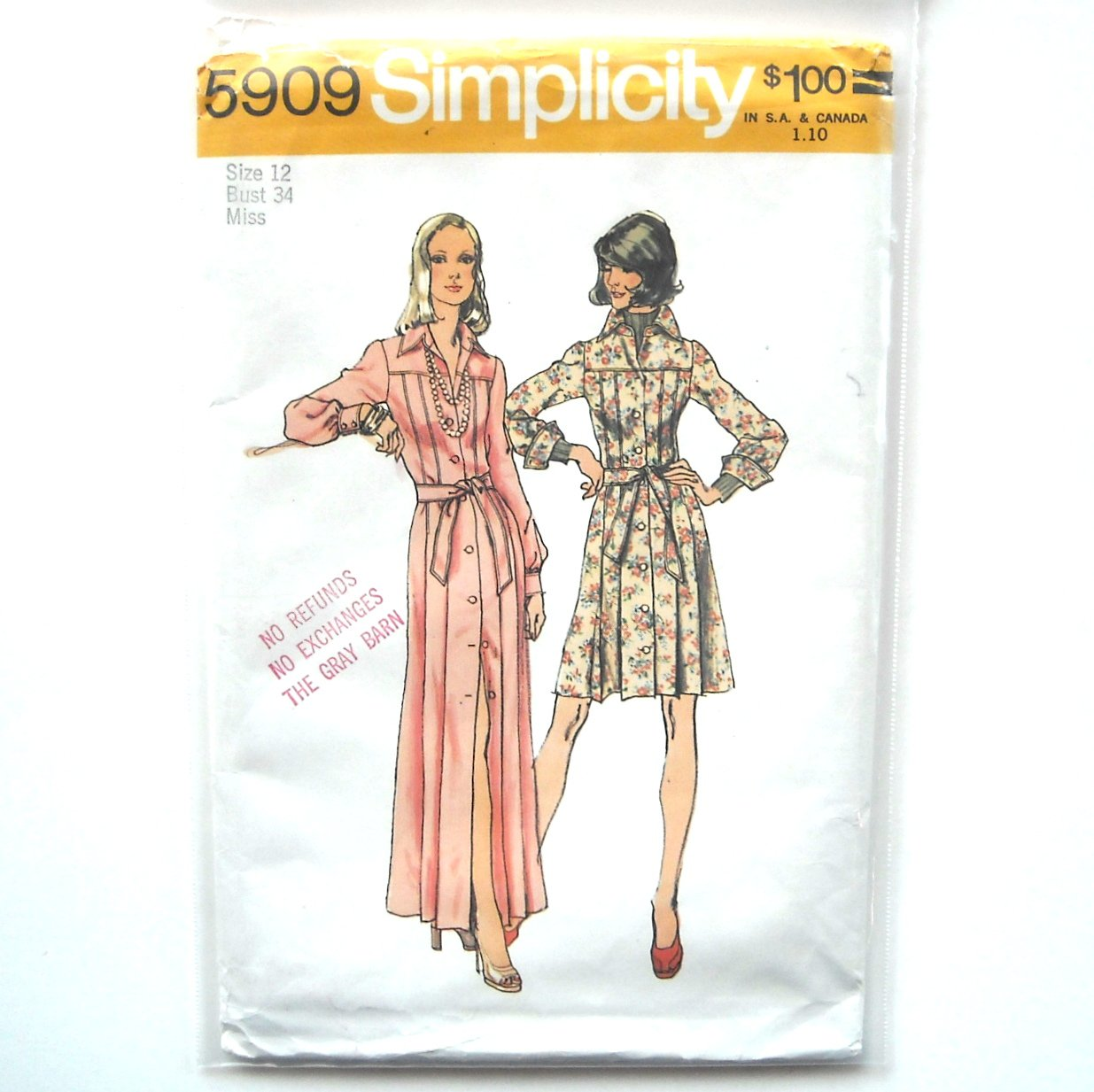 Misses Dresses Vintage Simplicity Sewing Pattern 5909