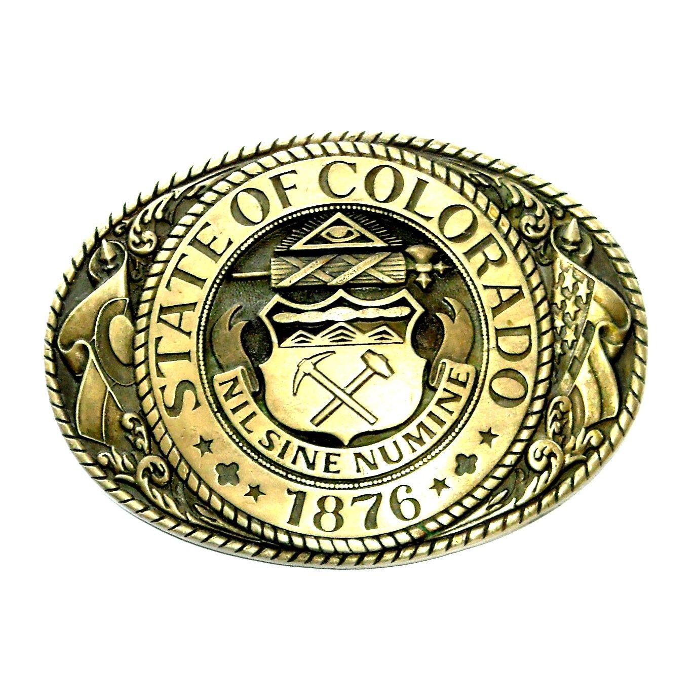 Colorado State Seal Tony Lama Solid Brass Belt Buckle