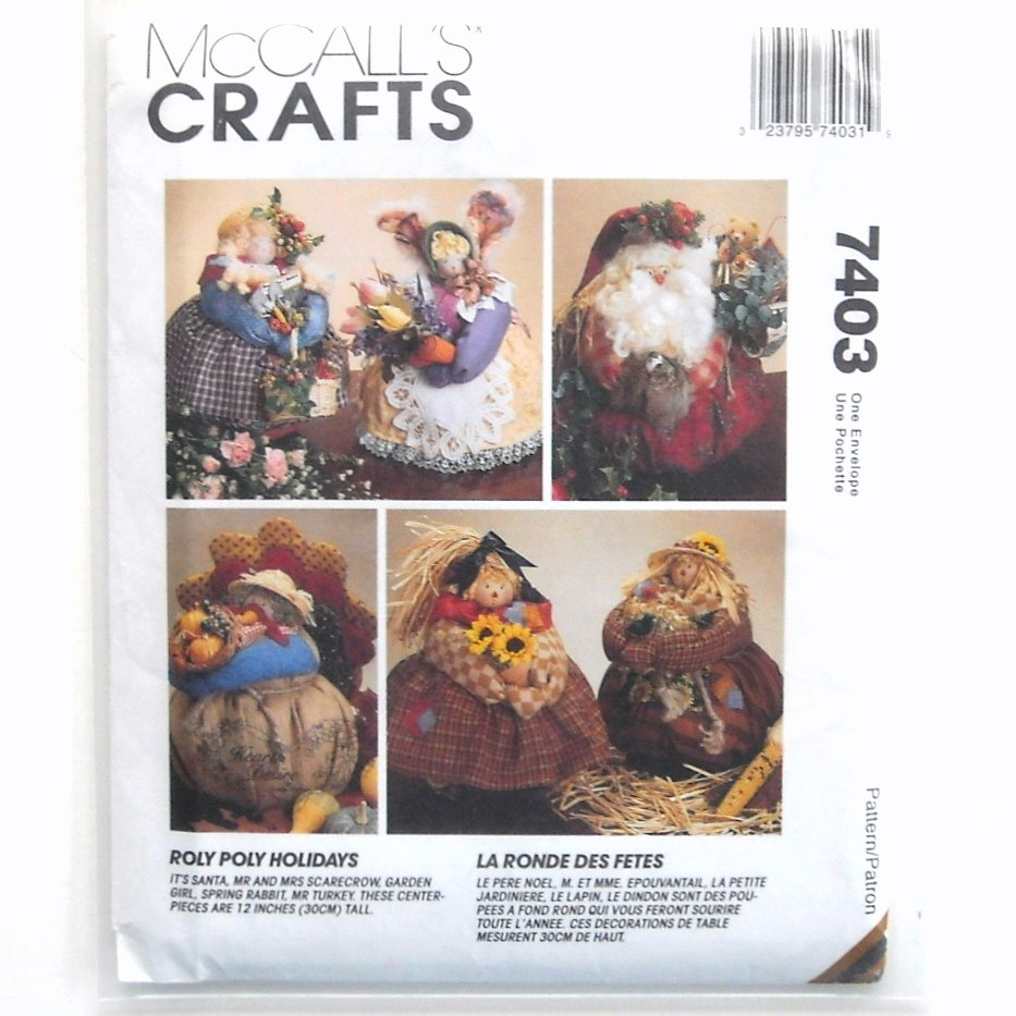 Roly Poly Holidays Santa Rabbit Scarecrow Turkey McCalls Crafts Sewing Pattern 7403