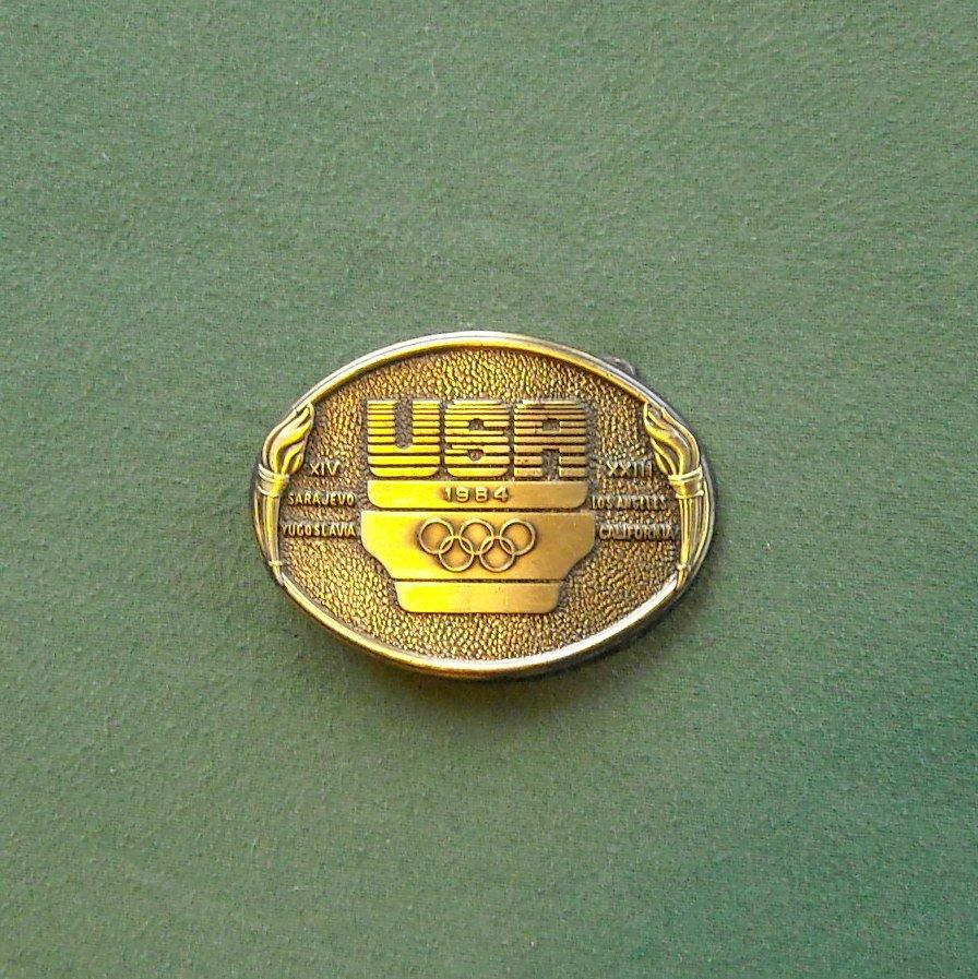 Vintage USA 1984 Olympics Brass Color Belt Buckle
