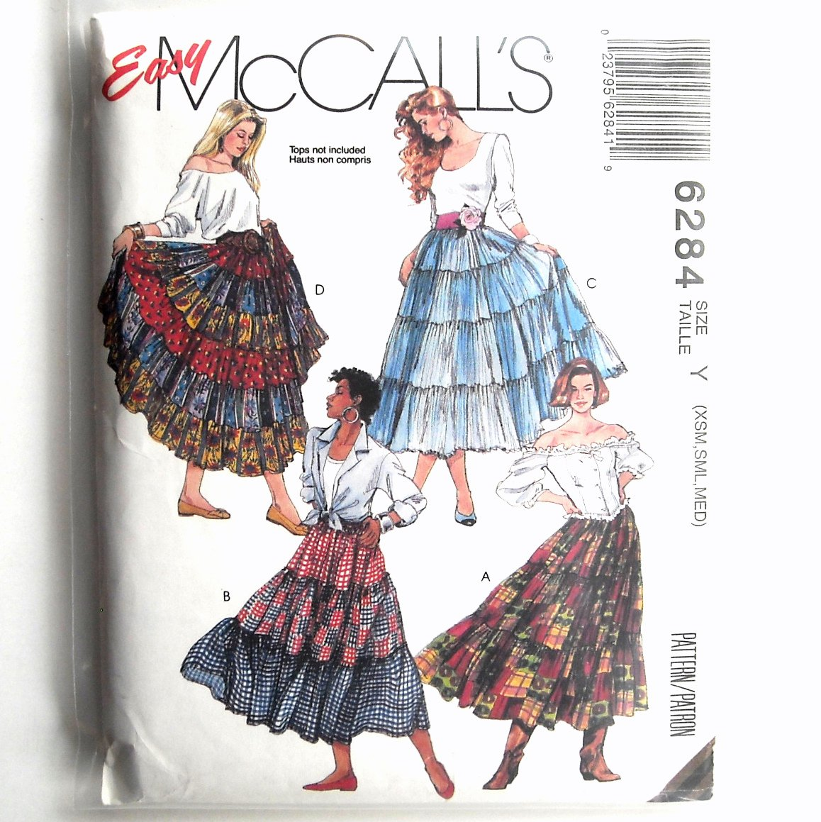 Misses Pull On Western Tiered Skirts Size XS S M McCall's Sewing Pattern 6284