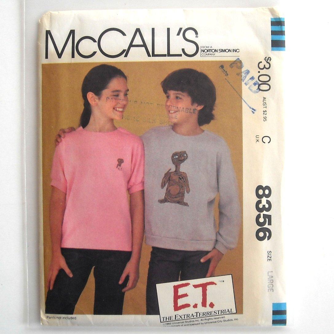 Boys Girls Sweatshirt ET Iron On Transfers Vintage McCall's Sewing Pattern 8356