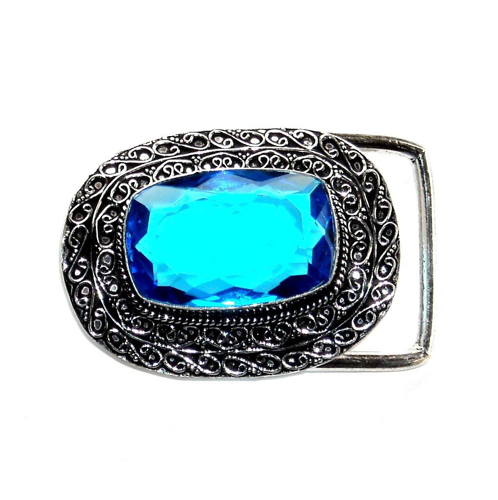 London Blue Gemstone Sterling Silver Belt Buckle