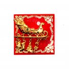 Sleigh Gold Color Brass Brooch Pin Christmas Xmas Jewelry