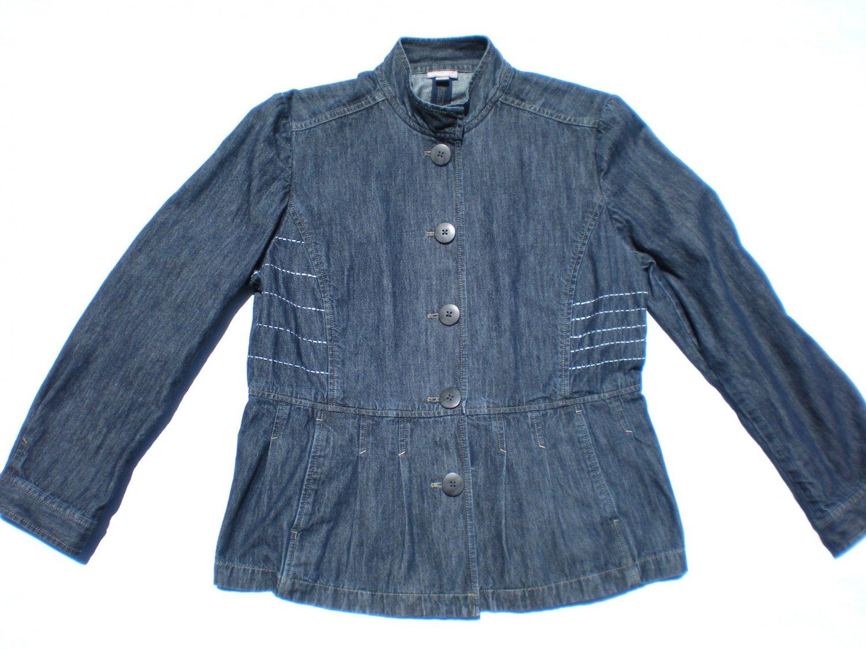 J Jill Women's Blue Denim Jacket With Sashiko Embellishment Size 14