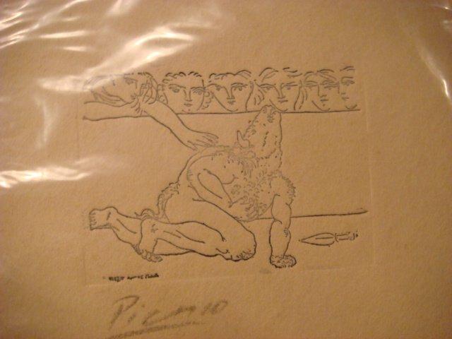 Pablo Picasso Etching Signed in Pencil ,original ,Minotauro agonizando