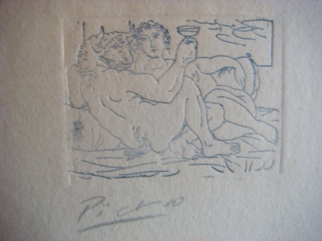 Pablo Picasso Etching Signed in Pencil ,original ,minotauro bebiendo y mujer