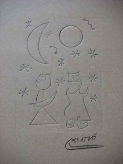 Joan Miro , Certified wax stamp # 198 year 1943 AMOR BAJO SOL Y LUNA