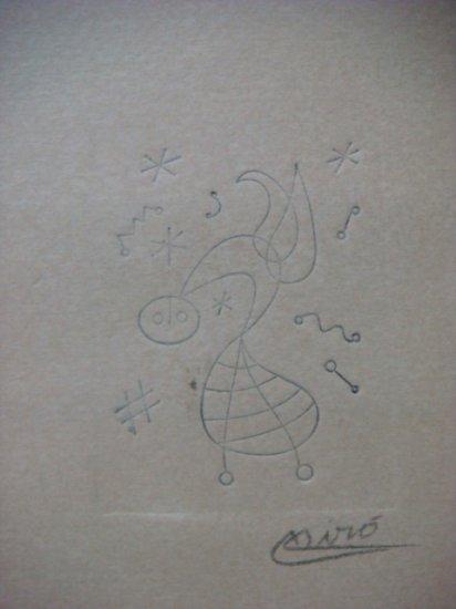Joan Miro , Certified wax stamp # 319 year 1943 UN PAJARO