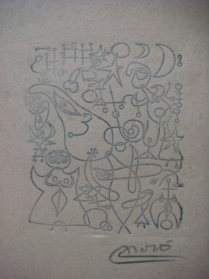 Joan Miro , Certified wax stamp #120  year 1938 EL CANTO DEL RUISENOR A MEDIA NOCHE Y EN LA MANANA