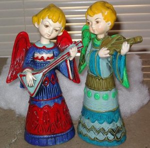 Colorful Angel figurines Set of 2 angels playing instruments
