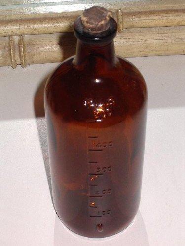 Amber Brown Glass Bottle MILS 500 Vintage Apothecary Rx broken cork stopper