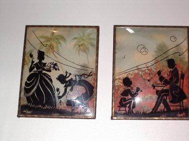 SILHOUETTE Reverse Painted PARENTS ENJOYING TIME w CHILDREN Vintage ANTIQUE Pair