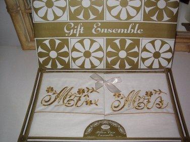 Vintage Artlin Pillow Case Ensemble Golden Embroidered Mr. & Mrs. New in Box