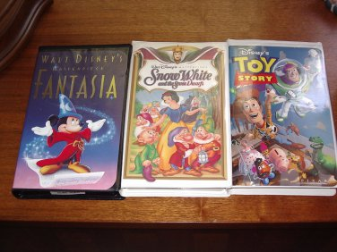 Lot of 3 DISNEY VHS Movies FANTASIA, SNOW WHITE, and TOY STORY