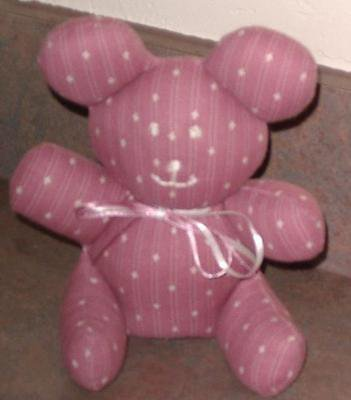 STUFFED ANIMAL HANDCRAFTED Muted Pink Fabric Looking for Good Home