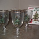Spode CHRISTMAS TREE Pedestal Goblets -Set of 4 with Original Box