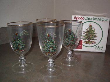 Spode CHRISTMAS TREE Pedestal Goblets -Set of 4 with Original Box
