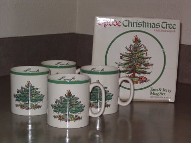 Tom and Jerry Mugs and Sugar & Creamer Spode CHRISTMAS TREE England in boxes