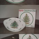 Spode Christmas Tree Round Platter, Cake Plate,& Double Tier Tray England boxes