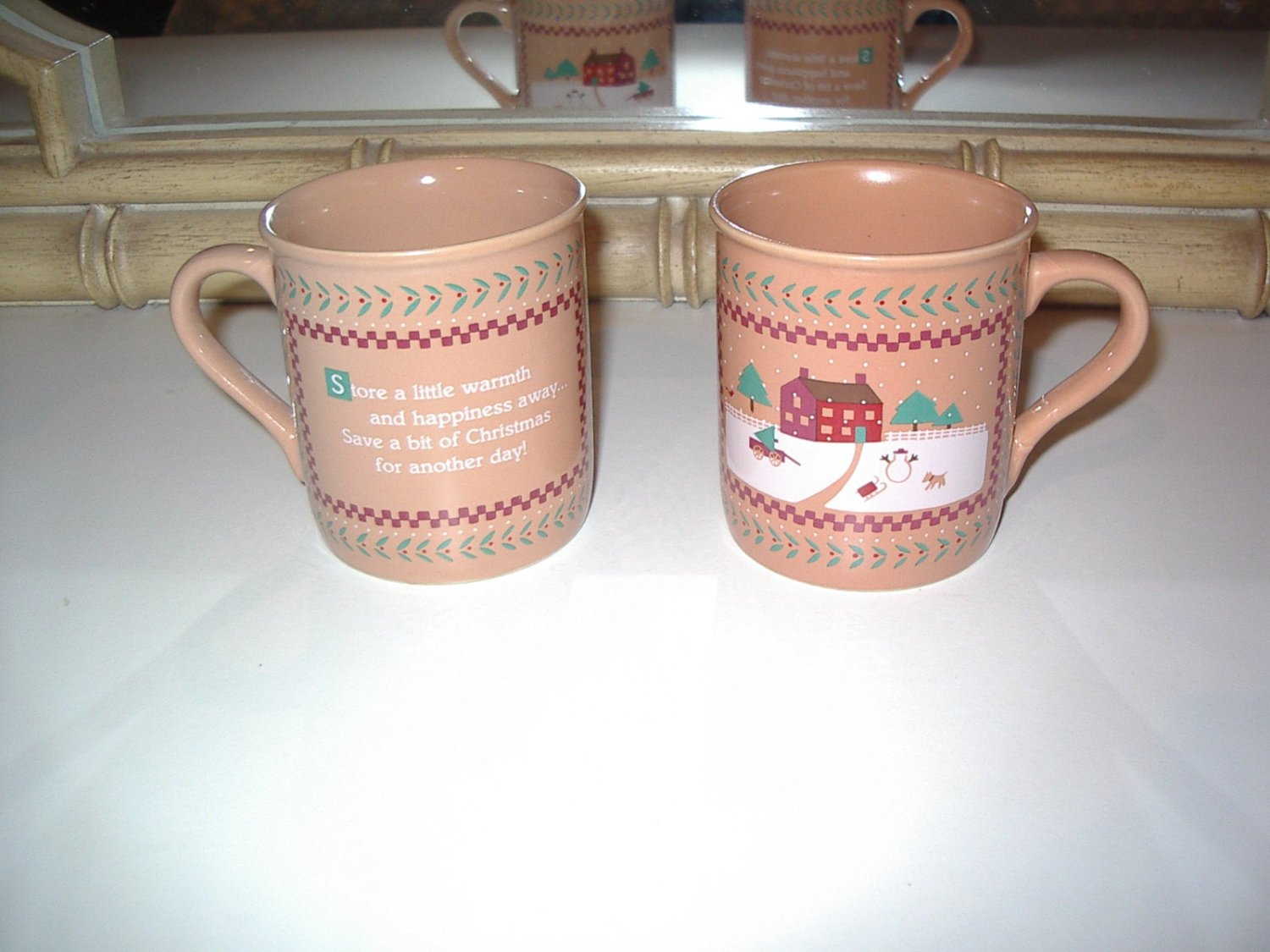 SET of 2 Vintage HALLMARK Warmth and Happiness Christmas 8oz. Cups Mugs 1985