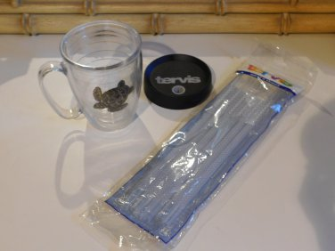 Tervis Tumbler Sea Turtle 15oz Mug with lid and package of adjustable straws