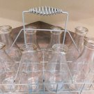 ANTIQUE VINTAGE DAIRY MILK FARM BOTTLE CARRIER HOLDER WIRE RACK & EIGHT BOTTLES
