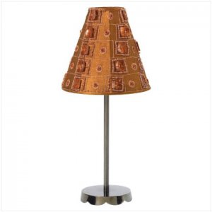 CANDLE LAMP W/METAL STAND-BRWN   35551